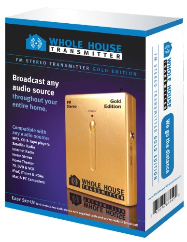 Whole House FM Transmitter -Gold Edition: Stereo FM Transmitter, MP3 FM Transmitter, iPod FM Transmitter, Auto FM Transmitter, Car FM (Whole House Fm)