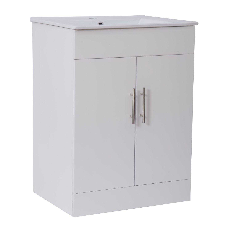 vanity unit with sink. Homcom White Bathroom Vanity Unit and Ceramic Basin Sink Cloakroom Storage  Cabinet Furniture 600mm Amazon co uk Wash Stands Units Home Kitchen