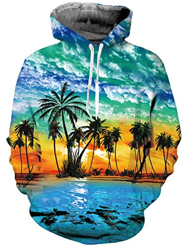 TUONROAD Men's 3D Graphic Hoodies Jacket Coat Tropical Holiday Beach Theme Yellow Orange Sunset Palm Tree Blue Big and Tall Drawstring Hooded Pullover Sweatshirts for Adult Youth Campus Juniors School ()