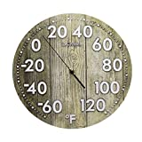 Lacrosse Rustic Wood Like Dial Thermometer for Indoor or Outdoor- Weather-Resistant Polyresin 12''