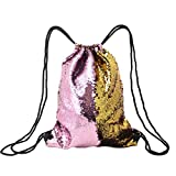 HITOP Mermaid Reversible Drawstring Backpack Bag, Sackpacks With Glittering Sequin, Outdoor Dance Shining Shoulder String Sports Cinch Bags (Gold/Pink)