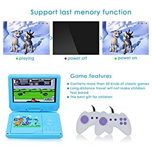 WONNIE 9.5 Inch Portable DVD Player Built-in 60 Kinds of Games ,USB / SD Slot and 4 Hours Rechargeable Battery, Perfect Gift for Kids (Blue)