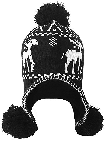 Simplicity Women's Winter Reindeer Knit Beanie w/Earflap and Pom Balls, - Reindeer Winter