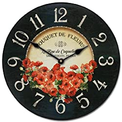 Bouquet de Fleurs Poppies Wall Clock, Available in 8 sizes, Most Sizes Ship 2 - 3 days, Whisper Quiet.