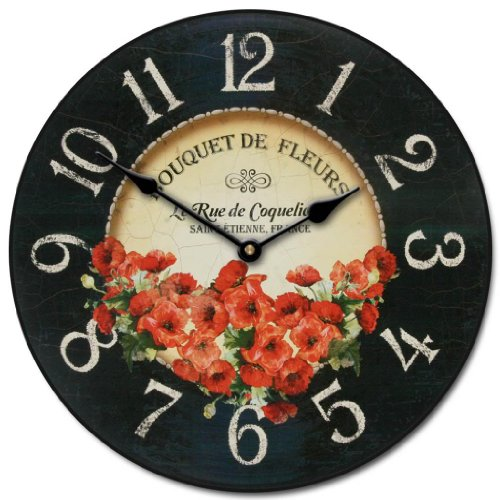 Bouquet de Fleurs Poppies Wall Clock, Available in 8 sizes, Most Sizes Ship 2-3 days, Whisper Quiet. Review