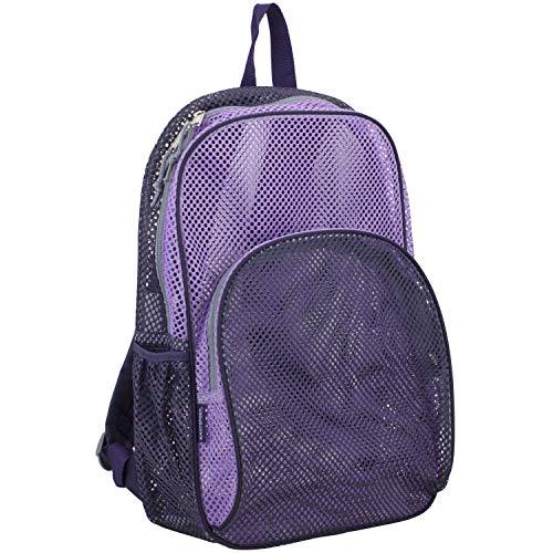 Eastsport Mesh Backpack With Padded Shoulder Straps, Blackberry/Lavender/Soft Silver