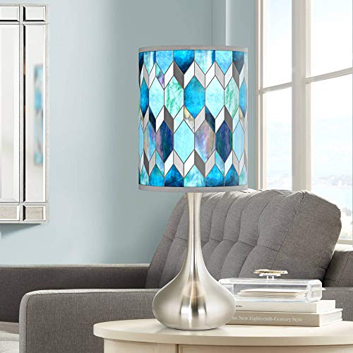 Blue Tiffany-Style Giclee Droplet Table Lamp - Giclee Glow