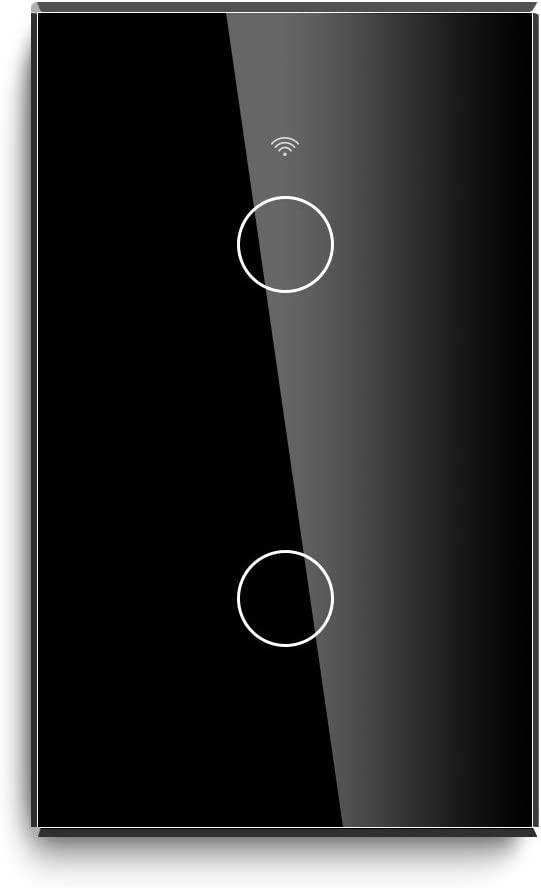 BSEED WiFi Touch Smart Wall Light Switch Tempered Glass Panel Work with Alexa/Google 118×71mm 2 Gang 1 Way Black