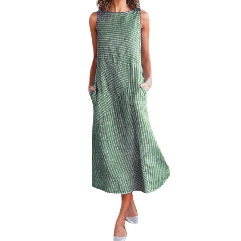 Kleid Boho Strand Rundhalsausschnitt Lang Maxi Leinen /& Baumwolle Accessoires