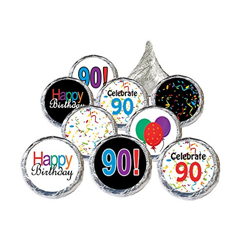 Happy 90th Birthday Sticker Decorations for Hershey Kisses (Set of