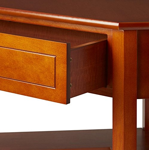 This classically styled desk utilizes a small space for a big impact, with stylish under-desk shelving and a drawer to hide clutter. Simple Living Wood Corner Computer Desk (Cherry) by Simple Living Products (Image #2)