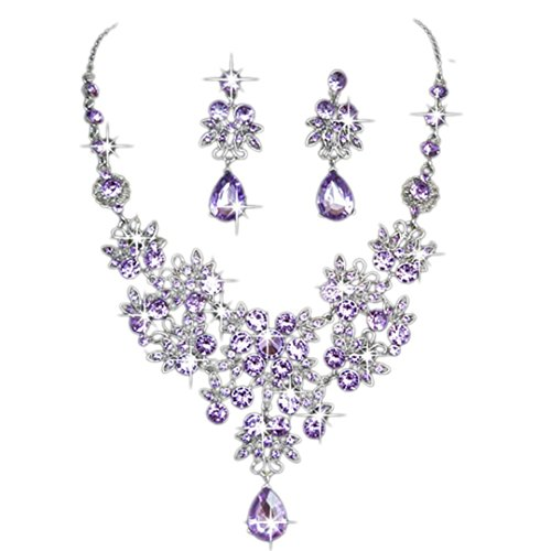 Leoy88 Clearance Charm Prom Wedding Bridal Jewelry Crystal Rhinestone Necklace Earring Set (Purple)