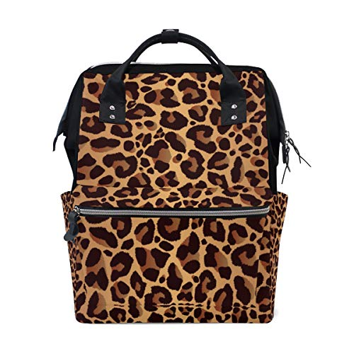 TropicalLife Vintage Animal Tiger Leopard Print Diaper Backpack Large Capacity Baby Bags Multi-Function Zipper Casual Travel Backpacks for Mom Dad Unisex -