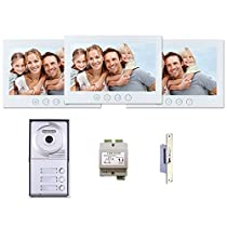 3 Resident Apartment Building Entry MT Series Video Intercom System Kit 7 Inch Monitor 3 Tenant