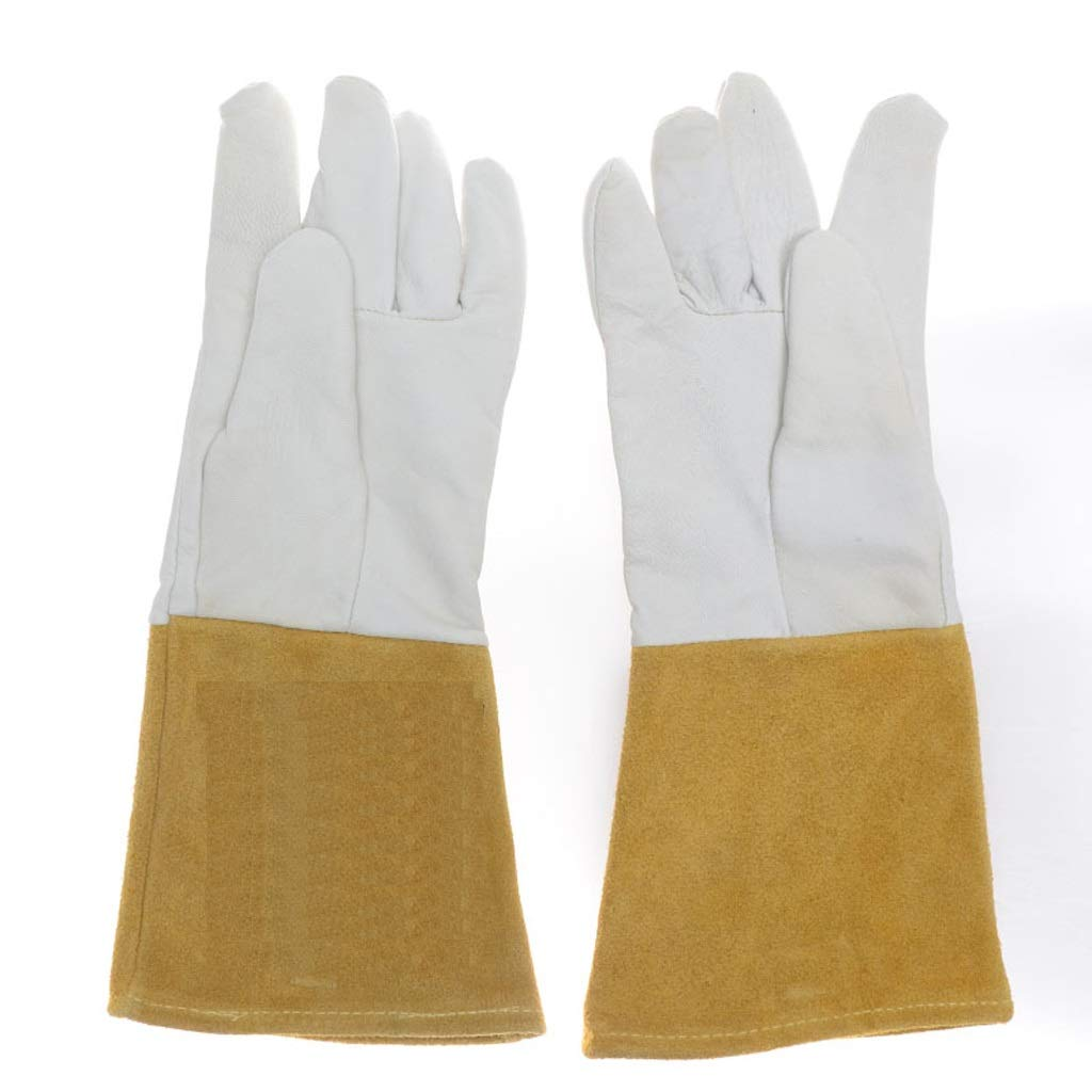 Goquik Welding Gloves, Leather Gloves, Long Thick Wear-Resistant Protective Gloves, Insulated Argon Arc Welding TIG Gloves (Color : White(13-15cm), Size : XL)