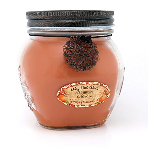 Spice Soy Candle (Way Out  West Spicy Pumpkin Jar Candle - Large 17 ounce - Fragrant & Long Lasting Soy Wax Blend - Perfect for Fall - Smells Like Moms Very Best Pumpkin Pie! Makes a Great Housewarming Gift.)