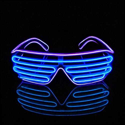 PINFOX Shutter EL Wire Neon Rave Glasses Flashing LED Sunglasses Light Up Costumes for 80s, EDM, Party RB03 (Purple - Blue) -