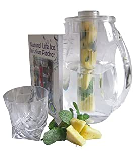 Natural Life Infusion Pitcher. The Quality Pitcher. Includes Free Full Color Booklet with Tons of Delicious Fruit Infusion Recipes for Hydration, Detox, Weight Loss and Energy Renewal.