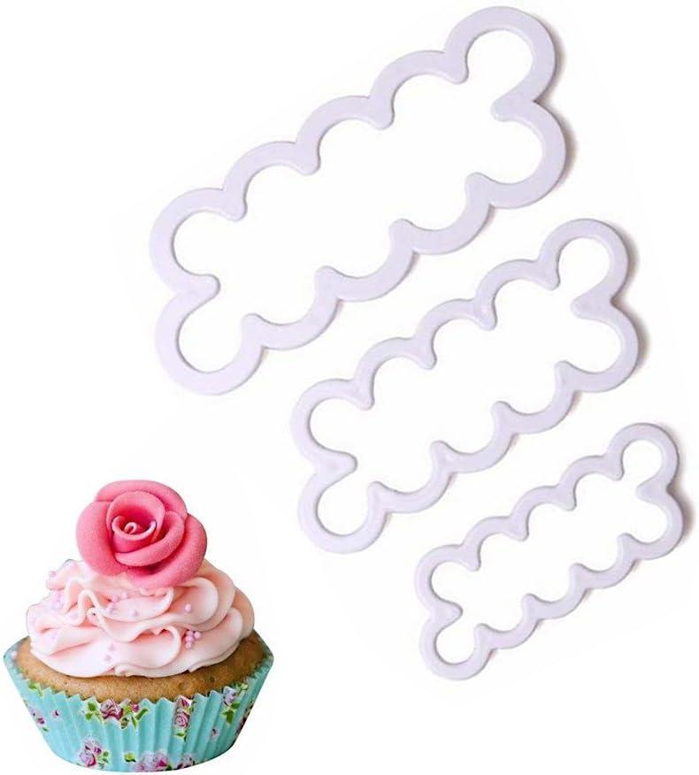3pcs Rose Petal Cake Fondant Icing 3D Tool Decorating Moulds Sugarcraft KT0102