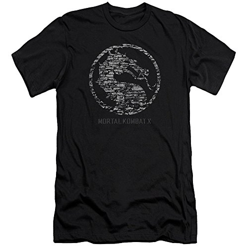 Mortal Kombat X Fighting Video Game Stone Dragon Seal Logo Adult Slim T-Shirt