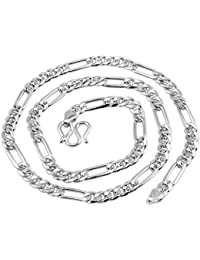 """Men's 925 Sterling Silver Italian Solid 3MM Figaro Link-Chain Necklace 18"""""""