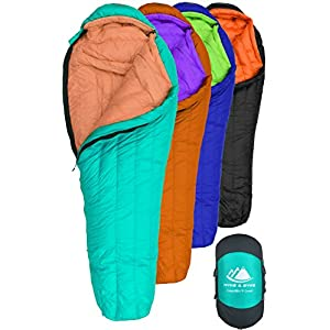 Hyke & Byke Eolus 0 Degree F 800 Fill Power Hydrophobic Goose Down Sleeping Bag with LofTech Base - Ultra Lightweight 4 Season Men's and Women's Mummy Bag Designed for Backpacking