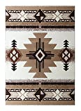 South West Native American Area Rug Design C318 Ivory (5 Feet X 7 Feet)