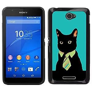 Caucho caso de Shell duro de la cubierta de accesorios de protección BY RAYDREAMMM - Sony Xperia E4 - Gato Oficina de Negocios del gatito