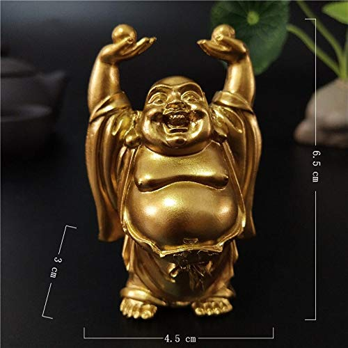 Kiartten Buddha Statue - Golden Chinese Laughing Buddha Statue Ornaments Feng Shui Maitreya Buddha Sculptures Figurines Home Garden Decoration Statues ()