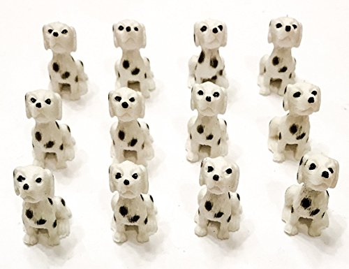 12 Mini Dalmatian Dog Figures. Small Toy Puppies.