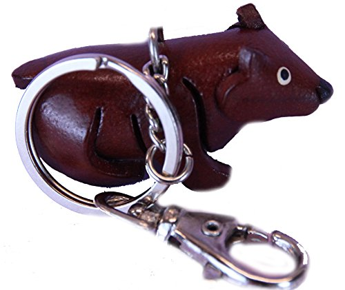 Price comparison product image Keyring Leather Brown Bear Charm - Keychain Dangle Holder