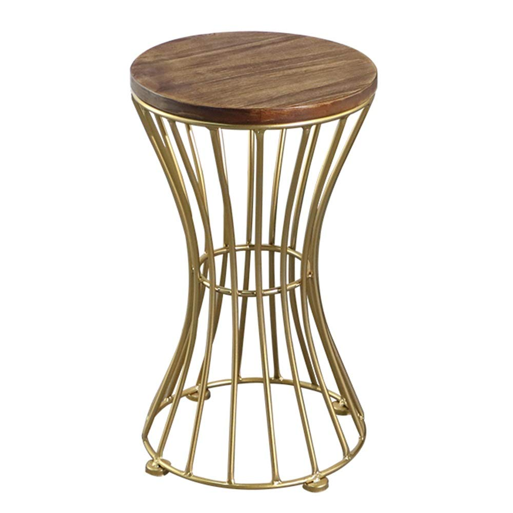 Feifei Side Table, Solid Wood + Wrought Iron, Creative, Round, Coffee Table, Multi-Functional, Practical, Side Table, Gold, 2 Sizes (Size : 3053cm)