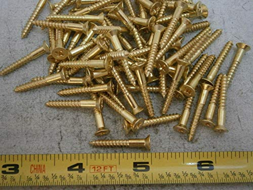 Wood Screws #6 x 1'' Long Flat Head Brass Lot of 50#5225 - Quality Assurance from ()