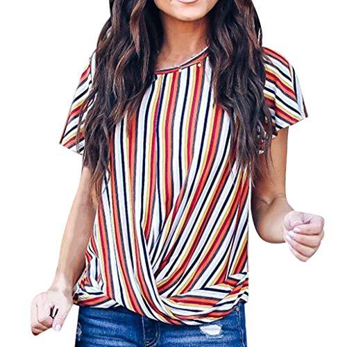 (RAINED-Women's Casual Blouses V Neck Striped Shirts Chiffon Short Sleeve Tops Knot Waist Shirt Flowy Tunic Tops)