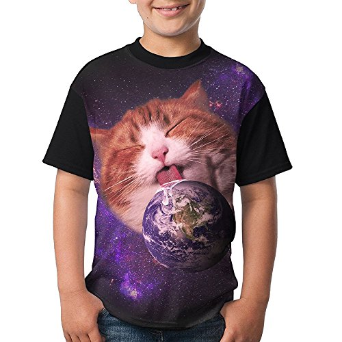 Cat Love Earth Child Summer Tshirts 3D Printed Tee Round Tops Small (Earth Stripe Skinny)