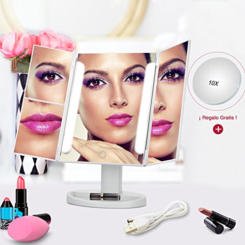 Glückluz Iluminando la Belleza de Madre Espejo de Maquillaje Espeojo de Mesa LED con Tríptico de Pantalla Táctil...