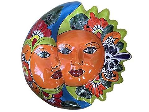 Talavera Eclipse Decor - Sun and Moon Face Ceramic - Hand Painted In Mexico - Multicolor