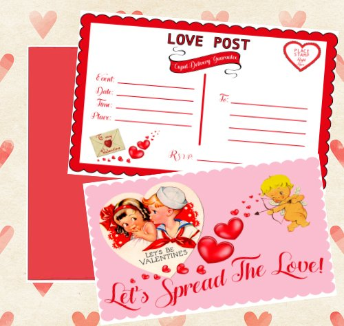 Vintage Valentine Day Cupid Postcard Themed Party Invitations (Set of 12) with Envelopes