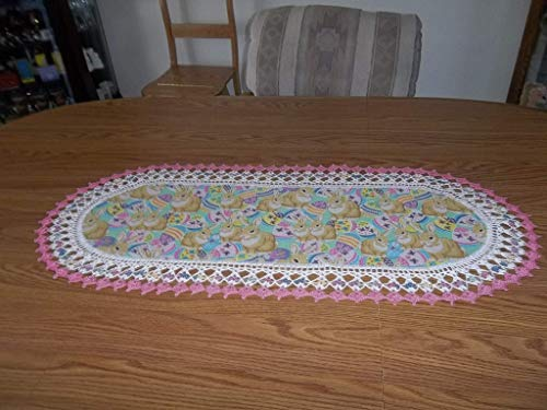 Easter Table Runner, Crocheted, Easter Bunny's, Colorful Easter Eggs Fabric Center, Crocheted Edge, Oval Centerpiece, Handcrafted, Dresser Scarf, Gift