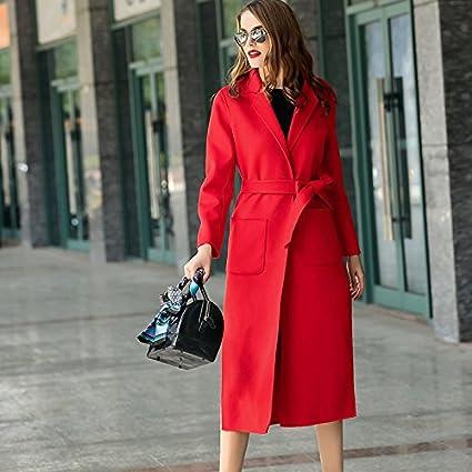 Womens HIDRRU Lana Cashmere abrigo de cachemir doble cara mujer 2017 otoño e invierno nuevas mujeres
