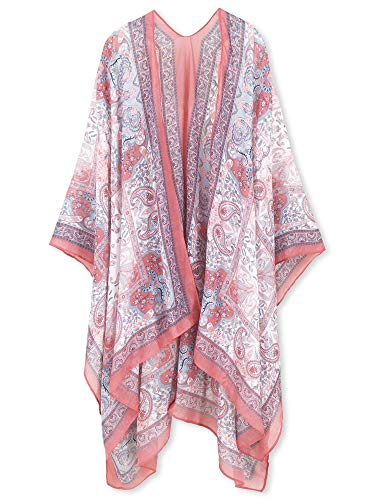 Moss Rose Women's Beach Cover up Swimsuit Kimono Cardigan with Floral Print Sequin Yarn (Cold Sunset)
