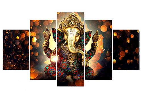 PEACOCK JEWELS [Large] Premium Quality Canvas Printed Wall Art Poster 5 Pieces / 5 Pannel Wall Decor Lord Ganesha Wallpaper, Home Decor Pictures - Stretched