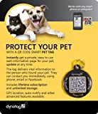 Dynotag Web/GPS Enabled QR Code Smart Round Coated Metal Tag and Ring. Pet Tag, Property Tag - Multiple Uses.