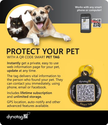 Dynotag® Web/GPS Enabled QR Code Smart Round Coated Metal Tag and Ring. Pet Tag, Property Tag - Multiple Uses.