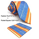 SHLAX&WING Stripes Blue Orange Mens Necktie Tie Set for Suit Jacket