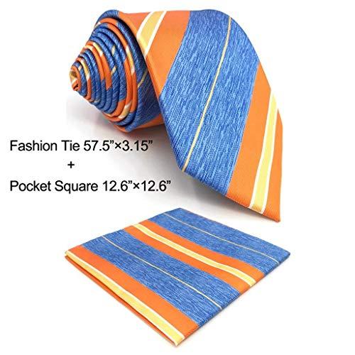 SHLAX&WING Stripes Blue Orange Mens Necktie Tie Set for Suit Jacket by S&W SHLAX&WING