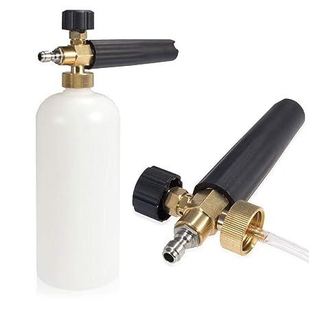 ZHITING Arandela de Alta presi/ón con 5 boquillas de Agua y 1L Kit de Botellas de Lanza de Espuma de Nieve para la Plataforma del Piso de Coches Limpieza de Windows Conector r/ápido