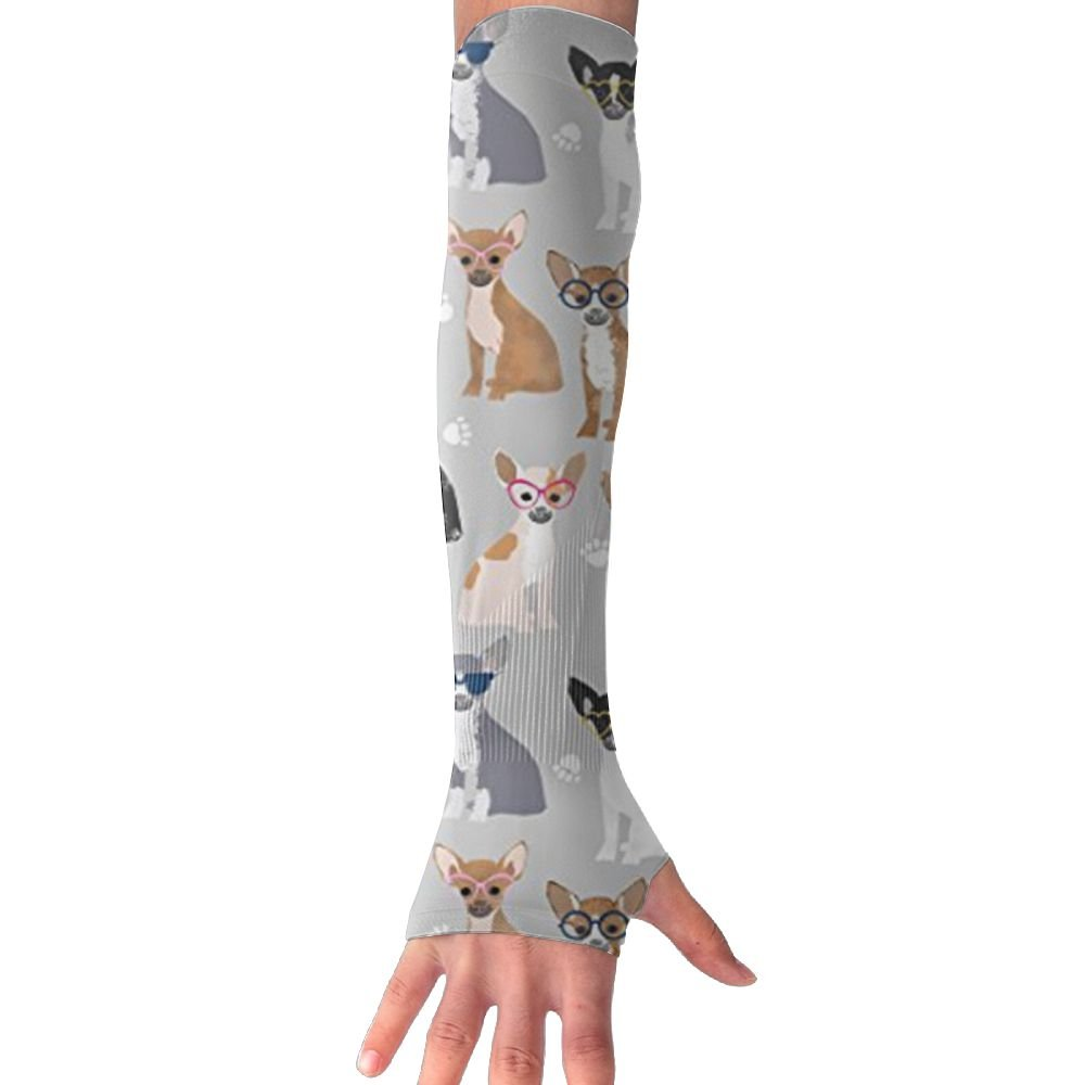 Huadduo Chihuahua Dog Glasses UV Sun Protection Sleeves,Cooling Arm Sleeves For Men &Women Long Arm Sleeve Glove