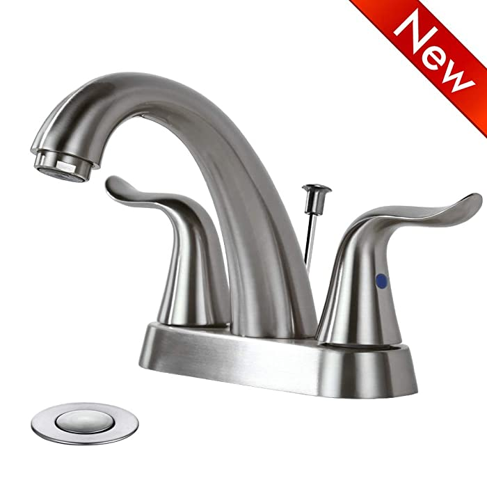 WOWOW Bathroom Faucet 2 Handle 4 Inch Centerset Bathroom Sink Faucet, Lead-free Basin Mixer Tap With Pop-up Drain Stopper, 2 Handle Centerset Lavatory Faucet Brushed Nickel Vanity Faucet
