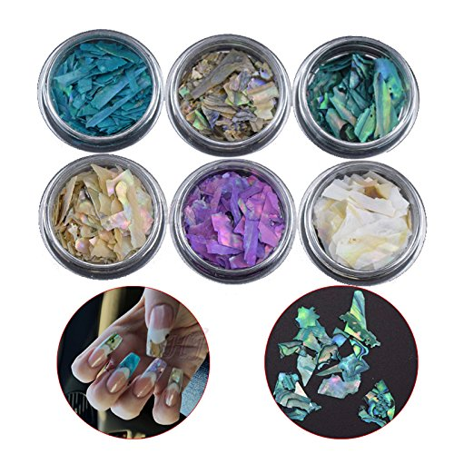 Acrylic Mosaic (6pots Beautiful Texture Natural Sea Shell 3d Charm Nail Art Decoration Slice DIY Beauty Salon Nail Decals Tools)